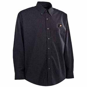 Philadelphia Flyers Mens Esteem Check Pattern Button Down Dress Shirt (Team Color: Black) - Large