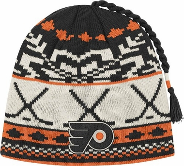 Philadelphia Flyers Jacquard Pattern Hocky Stick Tassel Cuffless Knit Hat