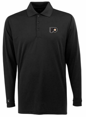 Philadelphia Flyers Mens Long Sleeve Polo Shirt (Team Color: Black)