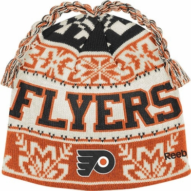 Philadelphia Flyers Snowflake Pattern Tassel Knit Hat
