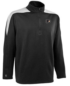 Philadelphia Flyers Mens Succeed 1/4 Zip Performance Pullover (Team Color: Black) - Large