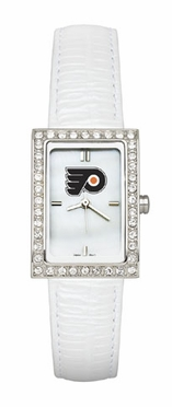 Philadelphia Flyers Women's White Leather Strap Allure Watch