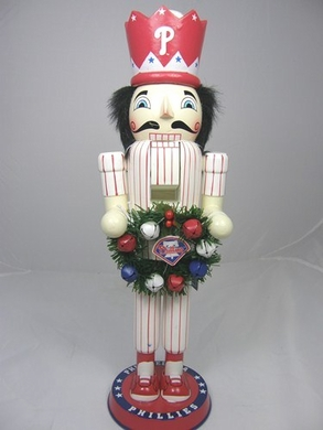 Philadelphia Phillies 14 Inch Wreath Nutcracker Figurine