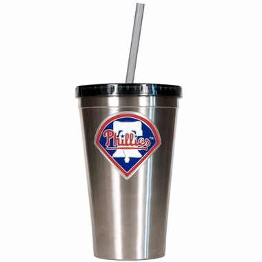 Philadelphia Phillies 16oz Stainless Steel Insulated Tumbler with Straw