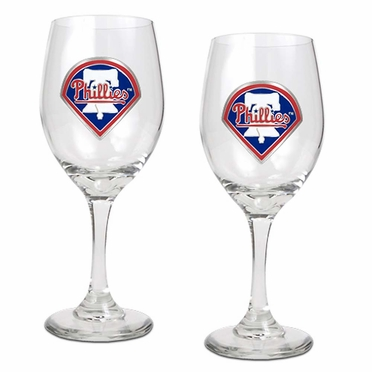 Philadelphia Phillies 2 Piece Wine Glass Set