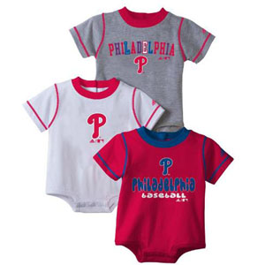 Philadelphia Phillies 3 Pack Creeper Set - 0-3 Months