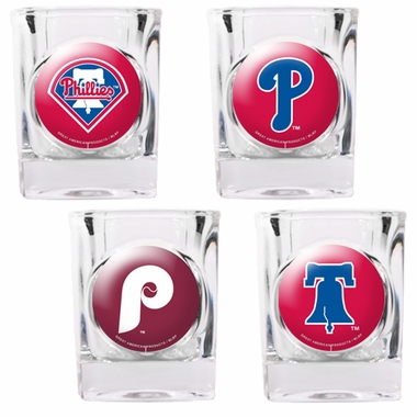 Philadelphia Phillies 4 Piece Assorted Shot Glass Set