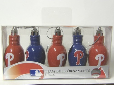 Philadelphia Phillies 5 Pack Bulb Ornaments