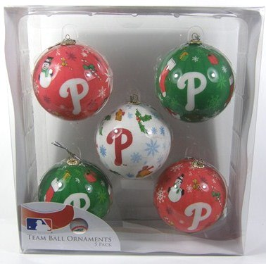 Philadelphia Phillies 5 Pack Decoupage Ball Ornament Set