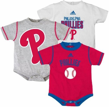 Philadelphia Phillies Adidas 3 Pack Bodysuit Creeper Set