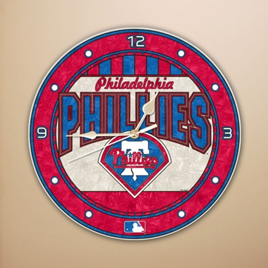 Philadelphia Phillies Art Glass Clock