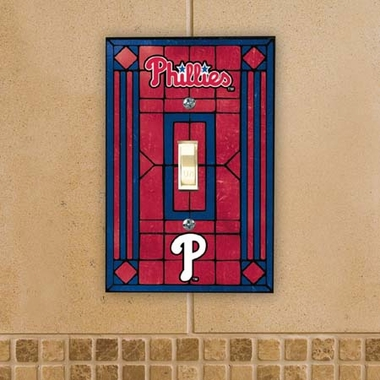 Philadelphia Phillies Art Glass Lightswitch Cover