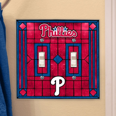 Philadelphia Phillies Art Glass Lightswitch Cover (Double)