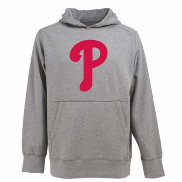Philadelphia Phillies Big Logo Mens Signature Hooded Sweatshirt (Color: Gray)