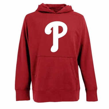 Philadelphia Phillies Big Logo Mens Signature Hooded Sweatshirt (Team Color: Red)