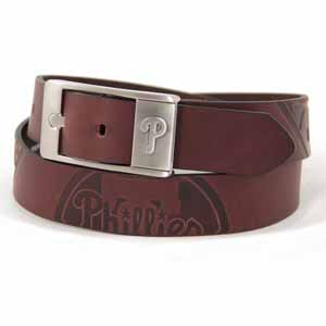 Philadelphia Phillies Brown Leather Brandished Belt - 36 Waist