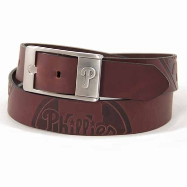Philadelphia Phillies Brown Leather Brandished Belt