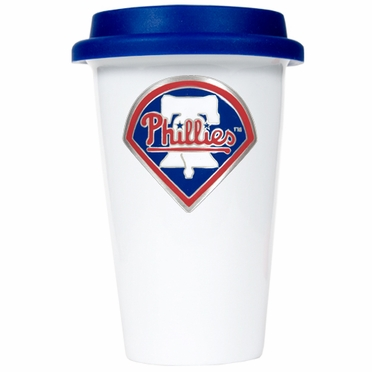 Philadelphia Phillies Ceramic Travel Cup (Team Color Lid)