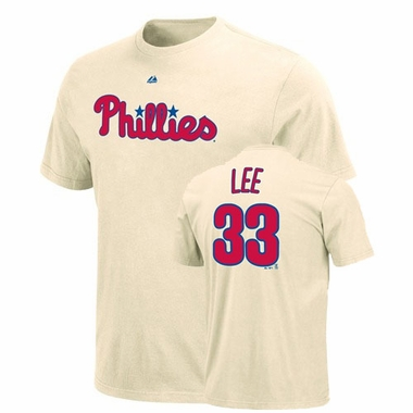 Philadelphia Phillies Cliff Lee Name and Number T-Shirt (Ivory)