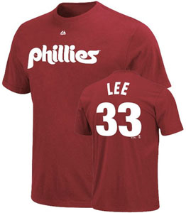 Philadelphia Phillies Cliff Lee Name and Number T-Shirt (Maroon) - X-Large