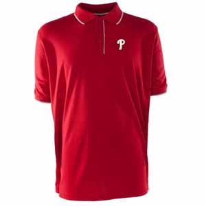 Philadelphia Phillies Mens Elite Polo Shirt (Team Color: Red) - Small