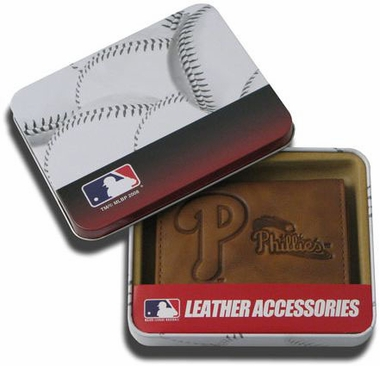 Philadelphia Phillies Embossed Leather Trifold Wallet