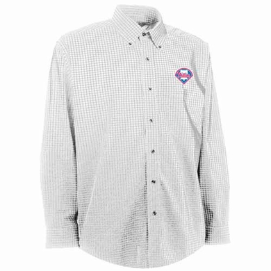 Philadelphia Phillies Mens Esteem Check Pattern Button Down Dress Shirt (Color: White)