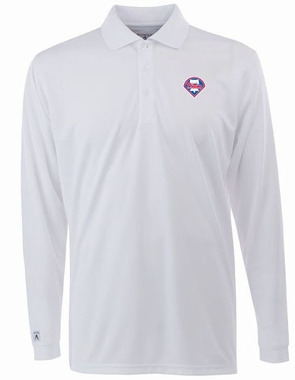 Philadelphia Phillies Mens Long Sleeve Polo Shirt (Color: White)