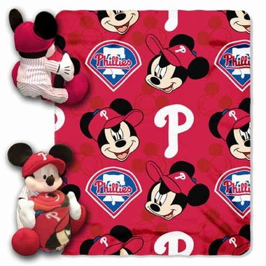 Philadelphia Phillies Mickey Mouse Pillow / Throw Combo