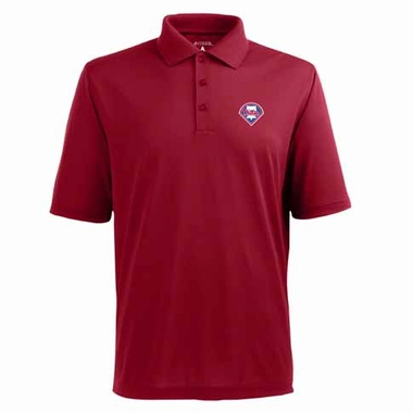Philadelphia Phillies Mens Pique Xtra Lite Polo Shirt (Color: Red)