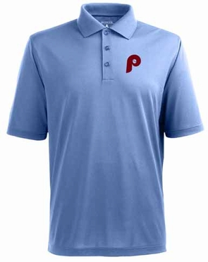 Philadelphia Phillies Mens Pique Xtra Lite Polo Shirt (Cooperstown) (Team Color: Aqua)
