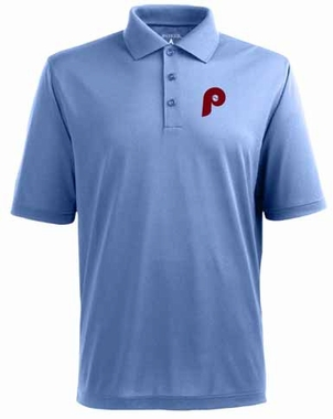 Philadelphia Phillies Mens Pique Xtra Lite Polo Shirt (Cooperstown) (Color: Aqua)
