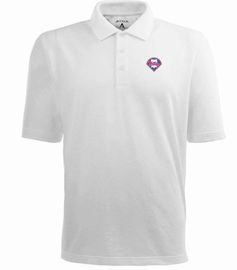 Philadelphia Phillies Mens Pique Xtra Lite Polo Shirt (Color: White)