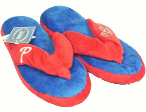 Philadelphia Phillies Plush Thong Slippers - Large