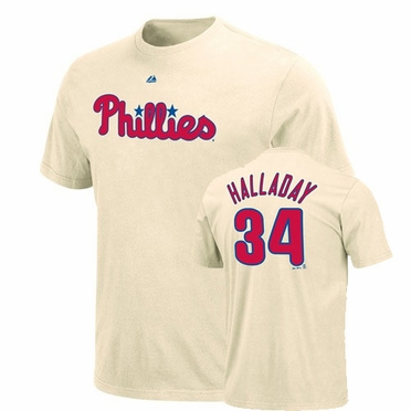 Philadelphia Phillies Roy Halladay Name and Number T-Shirt (Ivory)