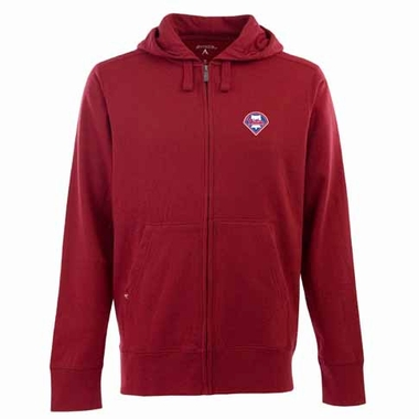 Philadelphia Phillies Mens Signature Full Zip Hooded Sweatshirt (Color: Red)