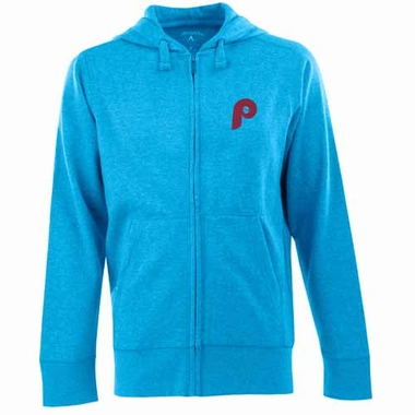 Philadelphia Phillies Mens Signature Full Zip Hooded Sweatshirt (Cooperstown) (Color: Aqua)