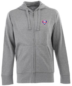 Philadelphia Phillies Mens Signature Full Zip Hooded Sweatshirt (Color: Gray) - Large