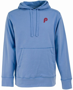 Philadelphia Phillies Mens Signature Hooded Sweatshirt (Cooperstown) (Team Color: Aqua)