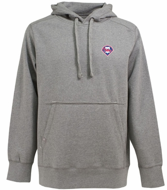 Philadelphia Phillies Mens Signature Hooded Sweatshirt (Color: Gray)