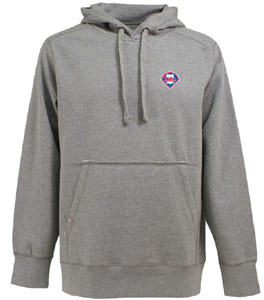 Philadelphia Phillies Mens Signature Hooded Sweatshirt (Color: Gray) - Small