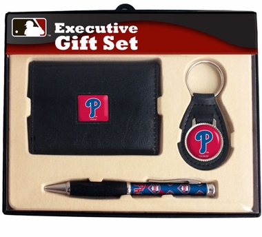 Philadelphia Phillies Trifold Wallet Key Fob and Pen Gift Set