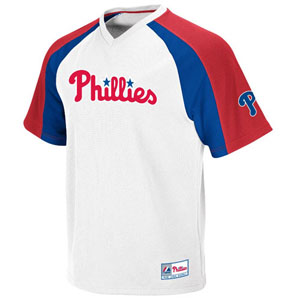 Philadelphia Phillies V-Neck Crusader Jersey (White) - X-Large