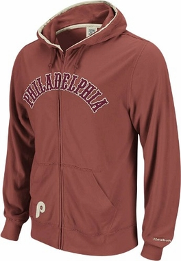 Philadelphia Phillies Vintage Full Zip Lightweight Hooded Sweatshirt