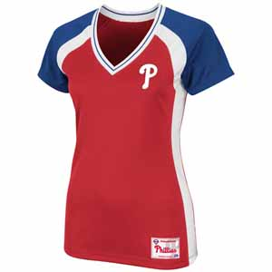 Philadelphia Phillies Womens Opal V-Neck Top - Large