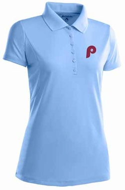 Philadelphia Phillies Womens Pique Xtra Lite Polo Shirt (Cooperstown) (Team Color: Aqua)