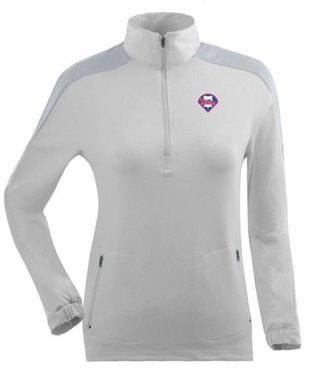 Philadelphia Phillies Womens Succeed 1/4 Zip Performance Pullover (Color: White)