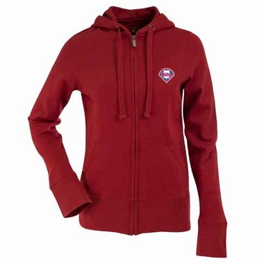 Philadelphia Phillies Womens Zip Front Hoody Sweatshirt (Alternate Color: Red)