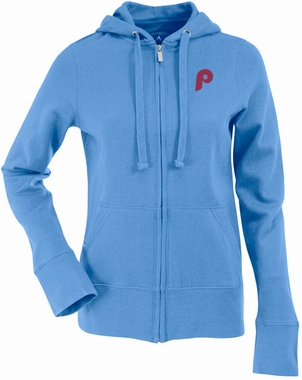 Philadelphia Phillies Womens Zip Front Hoody Sweatshirt (Cooperstown) (Team Color: Aqua)
