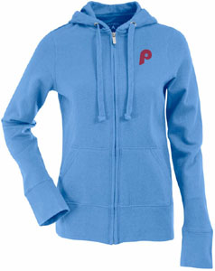 Philadelphia Phillies Womens Zip Front Hoody Sweatshirt (Cooperstown) (Color: Aqua) - Small